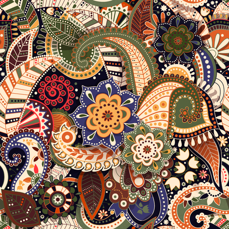 カラフルなペイズリー柄。元の装飾的な背景。インドの壁紙  イラスト・ベクター素材