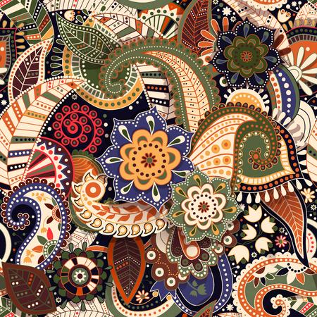 Colorful Paisley  pattern. Original decorative backdrop. Indian wallpaper