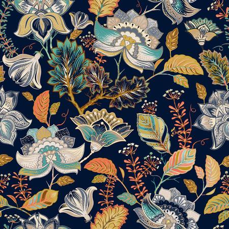 花柄シームレス パターン、プロヴァンス風  イラスト・ベクター素材
