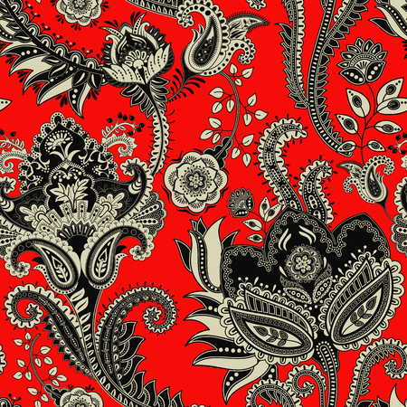 Red Vector seamless pattern. Indian floral backdrop. Paisley. Fashion style Illustration