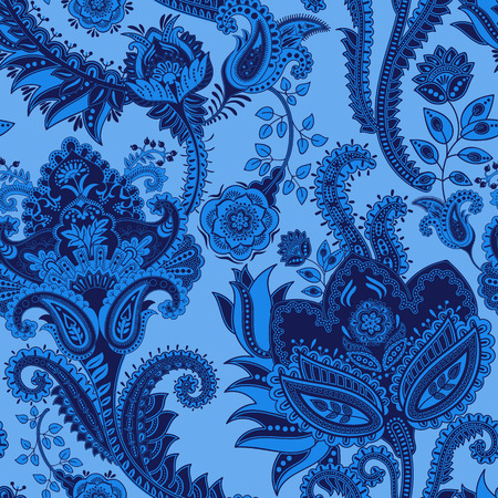 Blue Vector seamless pattern. Indian floral backdrop. Paisley. Fashion style