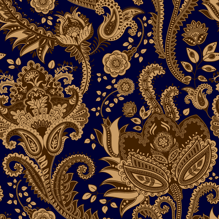 vintage patterns: Vector seamless pattern. Indian floral backdrop. Paisley. Fashion style Illustration