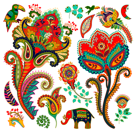 Colorful decorative elements. Paisley, decorative flowers, bird, elephant. Indian ornament Imagens