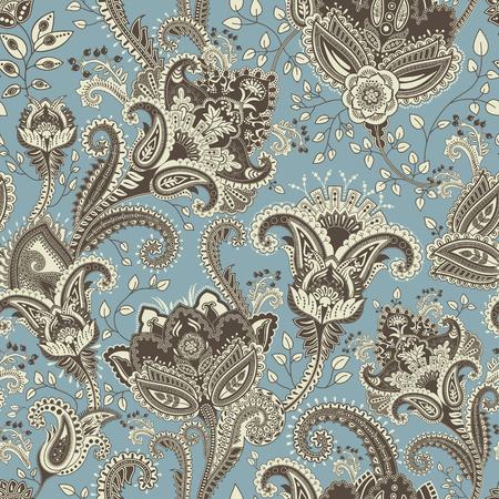Vector seamless pattern. Indian floral backdrop. Paisley. Fashion style. Design for fabric