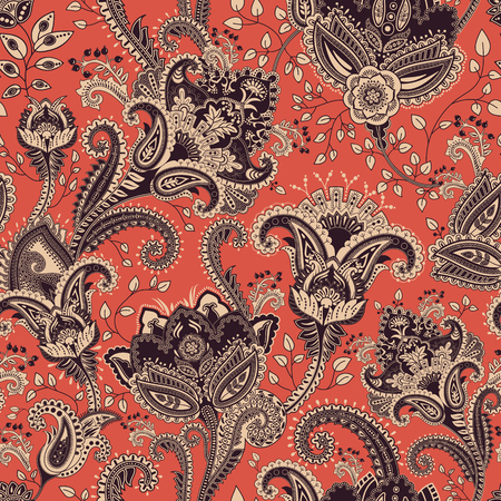 vintage patterns: Vector seamless pattern. Indian floral backdrop. Paisley. Fashion style. Design for fabric