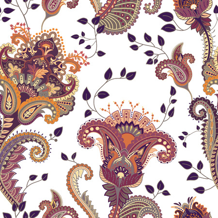 flower patterns: Vector seamless pattern. Indian floral backdrop. Paisley. Fashion style. Design for fabric