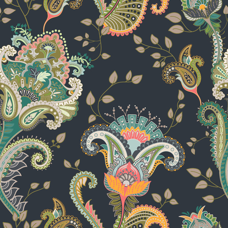 east indian: Vector seamless pattern. Indian floral backdrop. Paisley. Fashion style. Design for fabric