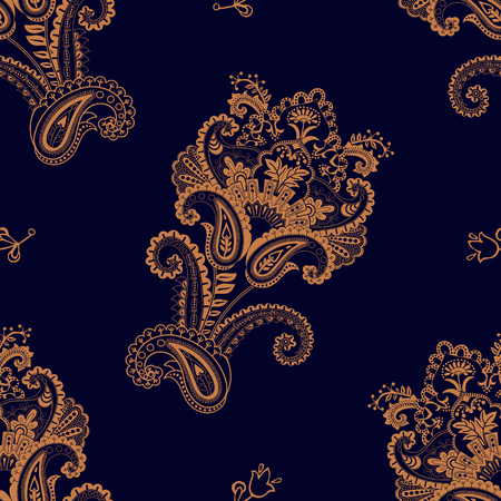 Vector seamless pattern. Indian floral backdrop. Paisley. Fashion style Ilustração