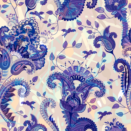 decorative wallpaper: Indian motive. Ethnic ornamental wallpaper. Big decorative flowers. Floral backdrop Illustration