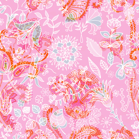 Seamless Paisley pattern, floral pattern. Colorful ornamental backdrop. Color wallpaper with decorative flowers Illustration