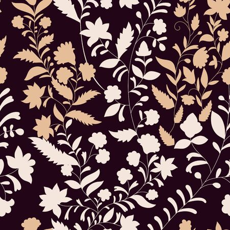 silhouette contour: Floral vector pattern, three colors. Monochrome nature pattern. Contour plants. Seamless pattern. Branches silhouette, flowers, leaves