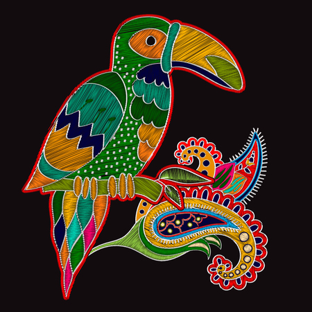 decoupage: Embroidery oriental print with big bird. Floral folk template with toucan and Paisley flower on black background for fashion design. Embroidery imitation texture