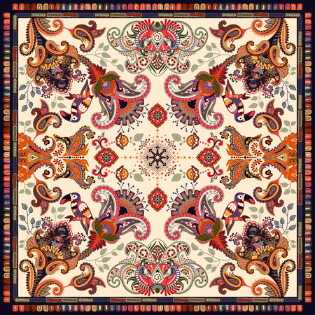 Design for shawl, card, textile. Colorful illustration with decorative birds and Paisley. Indian motive. Fashion style.