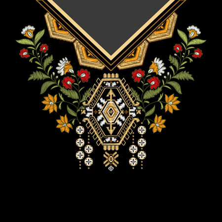 Vector template design for collar shirts, blouses, T-shirt. Embroidery flowers neck and geometric ornament. Paisley decorative border. Imitation embroidery effect