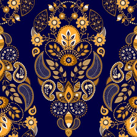 tile able: Golden and blue floral seamless pattern, ornamental wallpaper Stock Photo