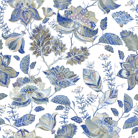 provence: Vector seamless floral pattern with decorative plants. Provence style Illustration