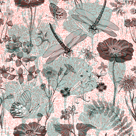Summer vector seamless pattern. Botanical wallpaper. Plants, insects, flowers in vintage style. Butterflies, dragonflies, beetles and plants in the style of Provence on a light background Illusztráció