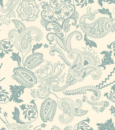 Patrón transparente floral colorido. Adorno de las plantas. Flores decorativas y Paisley. Diseño para telas, tarjetas, web, decoupage