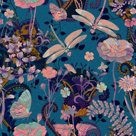 Modèle sans couture floral coloré. Ornement de plantes. Fleurs décoratives et de l'herbe. Design pour tissus, cartes, web, découpage