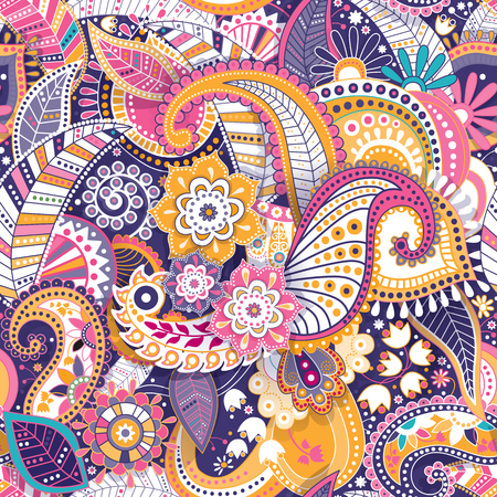 Floral seamless pattern, texture effect. Indian colorful ornament. Vector decorative flowers and Paisley. Ethnic style. Design for fabrics, web, decoupage 일러스트