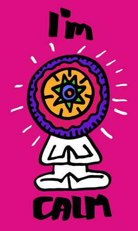 Colored Vector illustration. The symbol of yoga. A man sitting in a lotus pose with mandala