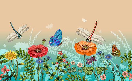Vector vertical border with dragonflies, butterflies, flowers, grass and plants. Summer style. Seamless nature border, floral background. Vector horizontal banner with colorful plants