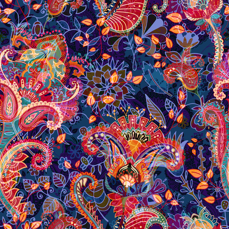 Colorful floral seamless pattern. Paisley ornament. Decorative flowers and grass. Design for fabrics, cards, web, decoupage Illustration