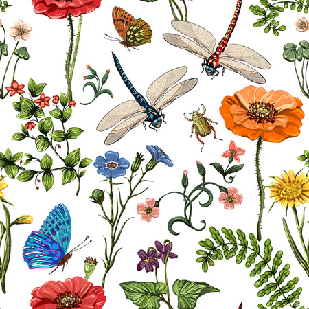 Summer vector seamless pattern. Botanical wallpaper. Plants, insects, flowers in vintage style. Butterflies, dragonflies, beetles and plants in the style of Provence