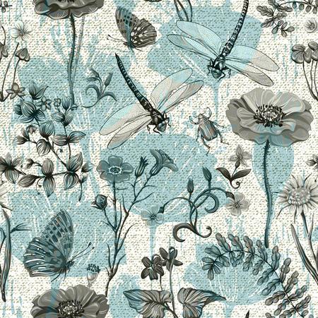 여름 벡터 원활한 패턴입니다. 식물 벽지. 식물, 곤충, 빈티지 스타일의 꽃. 나비, dragonflies, 딱정벌레와 식물 프로방스의 스타일에 스톡 콘텐츠 - 83026174
