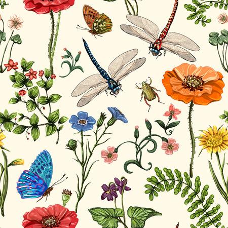 夏はシームレスなパターンをベクトルします。植物の壁紙。植物、昆虫、ビンテージ スタイルの花。蝶、トンボ、カブトムシ、プロヴァンスのスタ