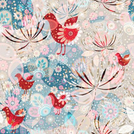 Vector seamless pattern, floral wallpaper