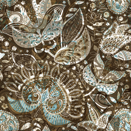 Vector seamless pattern with big decorative flowers. Blue and brown floral wallpaper