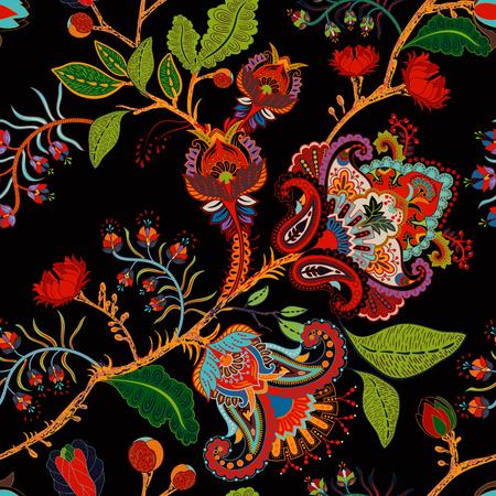 Vektornahtloses Naturmuster. Hintergrund mit großen dekorativen Blumen, Provence-Art Standard-Bild - 91193505