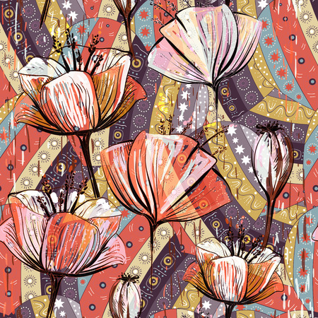 Hand drawn decorative tulips, seamless vector pattern Ilustração