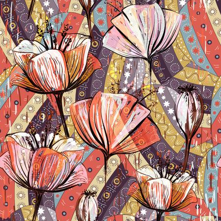 Tulipani decorativi disegnati a mano, modello di vettore senza soluzione di continuità