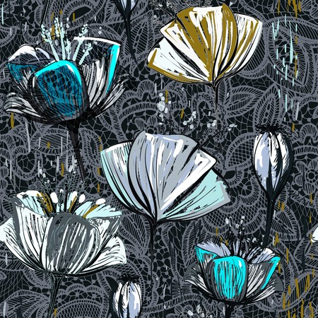 Hand drawn decorative tulips, seamless vector pattern. Colorful floral pattern