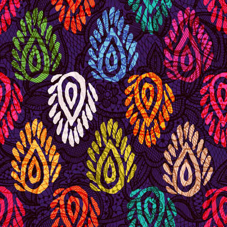Vector seamless pattern with ethnic elements