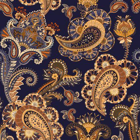 Papel tapiz floral del vector Patron dibujado a mano con paisley y flores decorativas
