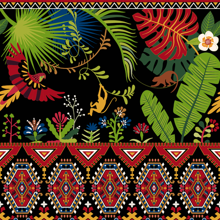 Colorful decorative pattern with plants, flowers and ornament. Tropical wallpaper Çizim