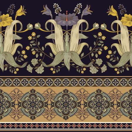 垂直シームレスパターン、ビクトリア朝スタイル。ヴィンテージ花カラフルな壁紙 写真素材 - 93755415