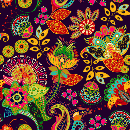 Colorful vector seamless pattern. Hand drawn illustration with paisley and decorative flowers.