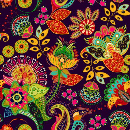 Vector de patrones sin fisuras de colores Dibujado a mano ilustración con paisley y flores decorativas. Ilustración de vector