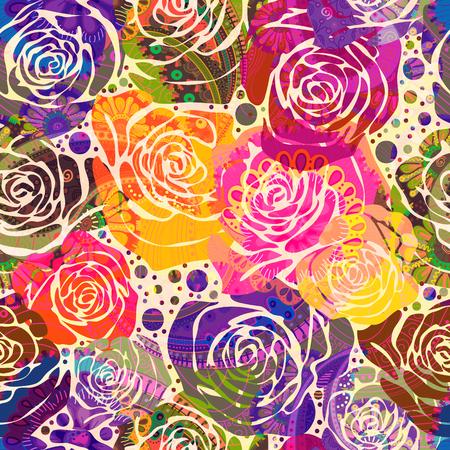 定型化されたバラの明るい花柄。●手描きの花を使ったベクトルイラスト。