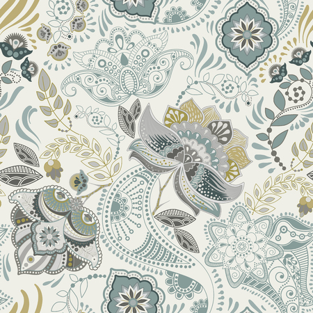 Motivo floreale vintage senza soluzione di continuità. Stile piante retrò. Motivo Paisley. Ornamento damascato colorato