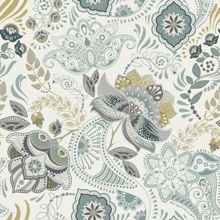 Patrón floral de la vendimia sin fisuras Estilo retro de las plantas. Motivo paisley. Adorno de damasco colorido
