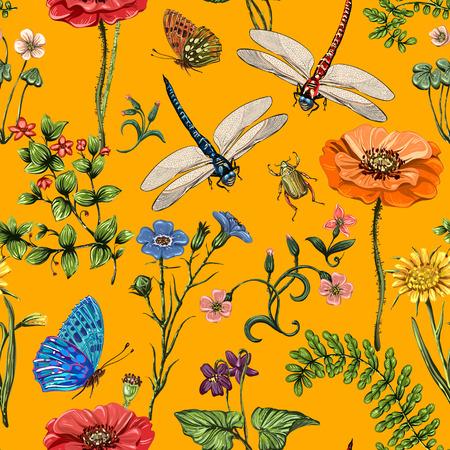 Padrão sem emenda de vetor de verão. Papel de parede botânico. Plantas, insetos, flores em estilo vintage. Borboletas, libélulas e plantas no estilo da Provence sobre um fundo claro