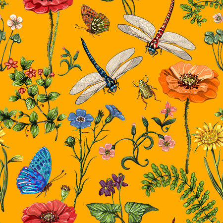 Summer vector seamless pattern. Botanical wallpaper. Plants, insects, flowers in vintage style. Butterflies, dragonflies and plants in the style of Provence on a light background