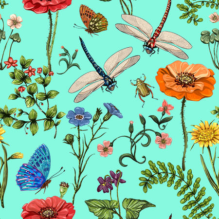 Summer vector seamless pattern. Botanical wallpaper. Plants, insects, flowers in vintage style. Butterflies, dragonflies and plants in the style of Provence Illustration