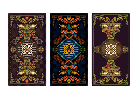 Vector illustration for tarot and playing cards. Template for invitations, posters. Tarot cards illustration.