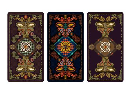 Ilustração vetorial para tarô e cartas de jogar. Modelo para convites, cartazes. Ilustração de cartões de tarô.